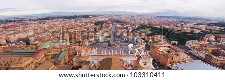 Panorama of Vatican and Rome . Skyline aerial view - stock photo