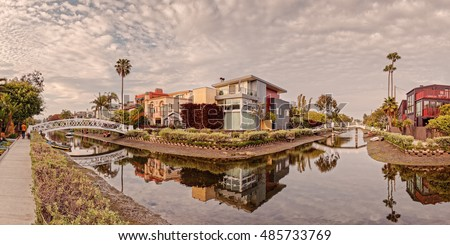Panorama of Venice Beach Canals - Los Angeles California