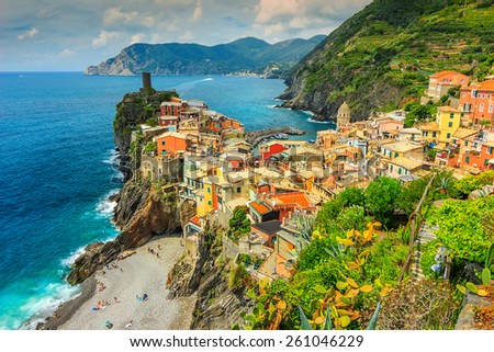 Panorama of Vernazza and colorful houses,Cinque Terre National Park,Liguria,Italy,Europe - stock photo