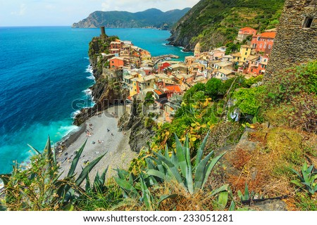 Panorama of Vernazza,Cinque Terre National Park,Liguria,Italy,Europe - stock photo