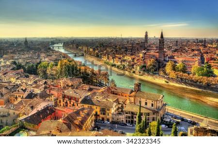Panorama of Verona in the morning haze - Italy - stock photo