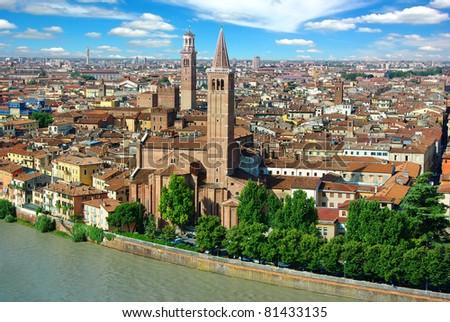 Panorama of Verona, Itali - stock photo
