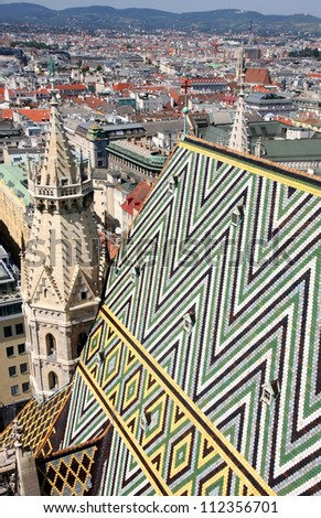 Panorama of Vienna, aerial view from Stephansdom cathedral, Vienna, Austria - stock photo