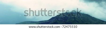 Panorama of Volcano of mountain Ba-Tur bali indonesia,tourist attraction - stock photo