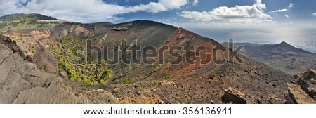 Panorama of volcano San Antonio (La Palma, Canary Islands) - stock photo