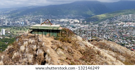 Panorama of Waikiki and mountains in Oahu Hawaii from the summit of Diamond Head crater - stock photo