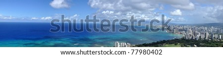 panorama of Waikiki Beach, Honolulu, Hawaii - stock photo