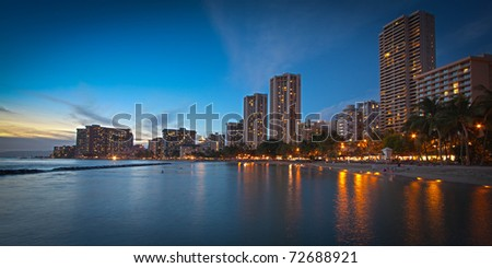Panorama of Waikiki Beach Hotels in Honolulu, Hawaii at Dusk with Exquisite Detail - stock photo