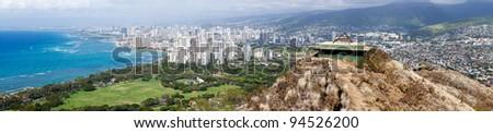 Panorama of Waikiki in Oahu Hawaii from the summit of Diamond Head crater - stock photo