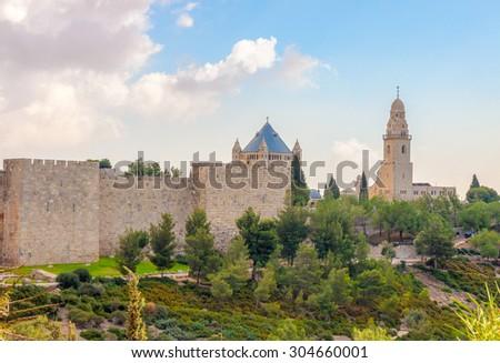 Panorama of walls the  old Jerusalem city, Israel - stock photo
