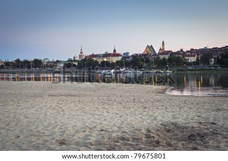 Panorama of Warsaw city with beach and Vistula river