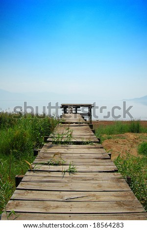 Panorama of way leading to the sea - stock photo