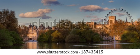 Panorama of Westminster as seen from St. James Park, London, England - stock photo