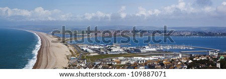 Panorama of Weymouth and Chesil Beach, Olympic sailing venue 2012