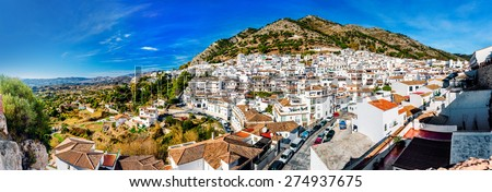 Panorama of white village of Mijas. Costa del Sol, Andalusia. Spain - stock photo