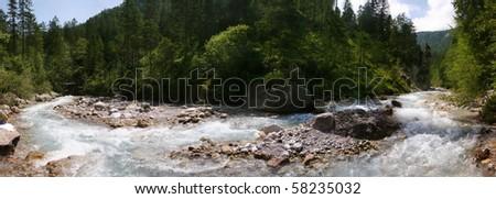 Panorama of Wimbach, alpine wild creek in the german Alps near Berchtesgaden - stock photo