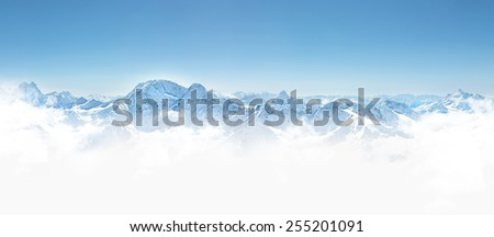 Panorama of winter mountains in Caucasus region,view from Elbrus mountain, Russia  - stock photo