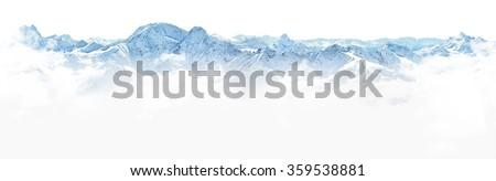 Panorama of winter mountains on white background - stock photo