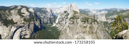 Panorama of Yosemite valley and Half Dome - view from Glacier Point - stock photo