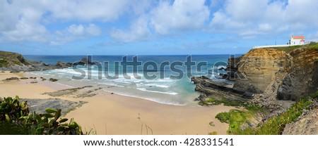 Panorama of Zambujeira do Mar Beach, in Portugal - stock photo