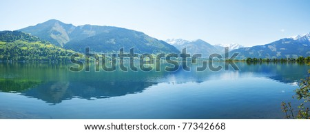 Panorama of Zell lake in Zell Am See, Austria - stock photo
