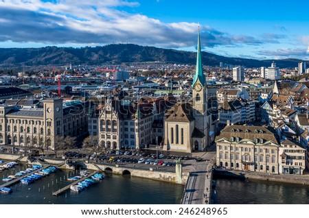Panorama of Zurich, Switzerland. - stock photo