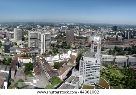 Panorama ofthe city center of Essen in Germany. Essen is together with the Ruhr area European Capital of Culture 2010. - stock photo