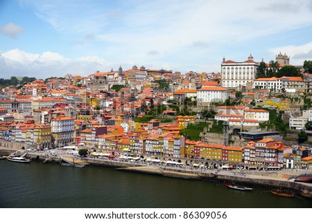 Panorama old city Porto at river Duoro,with Port transporting boats on a summer day, Oporto, Portugal