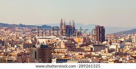 Panorama on Barcelona city.Catalonia. Spain. - stock photo