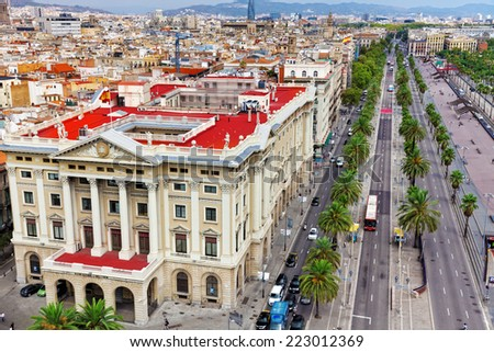 Panorama on Barcelona city from Columbus monument.Barcelona. Spain - stock photo