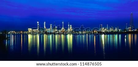 panorama on liquid and natural petroleum gas refinery plant area at twilight, Bangkok, Thailand. - stock photo