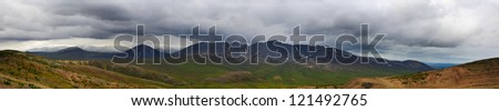 Panorama on mountain - stock photo