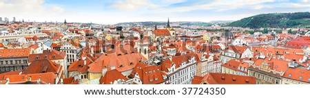 Panorama on Prague from Staromestska's Tower. Czech  Republic - stock photo