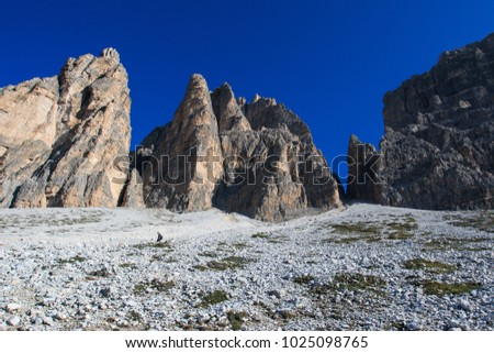 panorama on the dolomites, near the three peaks of Lavaredo