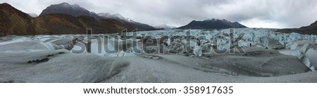 Panorama on the Viedma Glacier in Argentina - stock photo