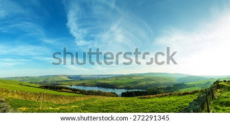 Panorama over Digley Reservoir looking  towards Holm Moss, near Holmfirth, Yorkshire, Peak District, England, UK - stock photo
