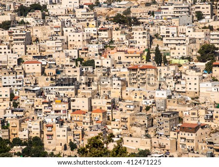 Panorama overlooking the Part Old City of Jerusalem, Israel, including the  Mount of Olives as backgrund - stock photo