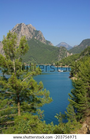Panorama Oymapinar dam reservoir on the river Manavgat, Turkey - stock photo