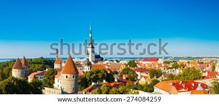 Panorama Panoramic Scenic View Landscape Old City Town Tallinn In Estonia - stock photo