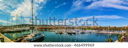 Panorama: Parking sailing ships in Marina Palma, Majorca, of the Balearic Islands in Spain.