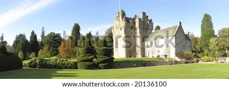 Panorama photo of Crathes Castle, Scotland - stock photo