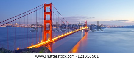 Panorama photo of Golden Gate Bridge at night time, San Francisco, USA - stock photo