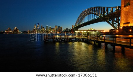 panorama photo of sydney cbd, opera house and harbour bridge during sunset