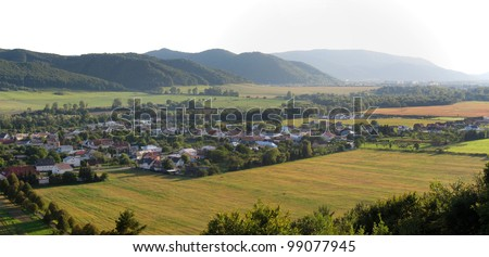 panorama photo of village Lackovce near city Humenne in Slovakia. - stock photo