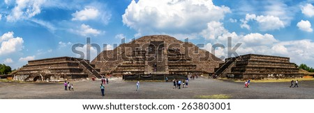 Panorama Pyramid of the Moon at Teotihuacan - stock photo