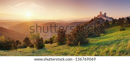 Panorama - ruin of castle Cachtice, Slovakia - stock photo