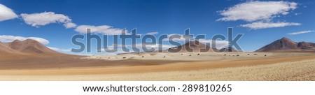 "Panorama  ""Salvador Dali desert"", Bolivia - stock photo"