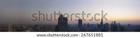 panorama scene of urban building of bangkok capital  thailand landscape in morning light glow up - stock photo