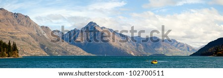 Panorama Scenic Mountain Landscape at Lake Wakatipu of Queenstown New Zealand - stock photo