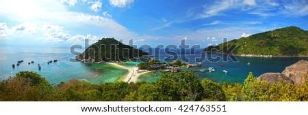 Panorama seascape of Nang Yuan Island, Surat Thani, Thailand - stock photo